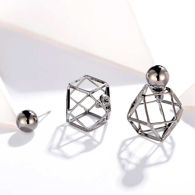 Vintage Geometric Double Side Stud Earrings