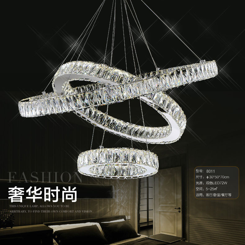 Modern Crystal LED Pendant lights Fixtures For Living Room Dining Room Kitchen Lustre de Cristal Ceiling Lampen Hanging Ring