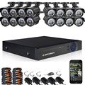 DEFEWAY Kit 16CH 720 P AHD DVR 16x720 P Vídeo de Cámaras de Seguridad de Interior Al Aire Libre 16 canales CCTV 1200TVL sistema