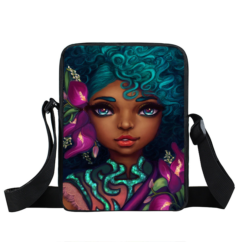 Afro Lady Girl messenger bag Africa Beauty Princess small shoulder bag brown women handbag mini totes teenager crossbody bags 27