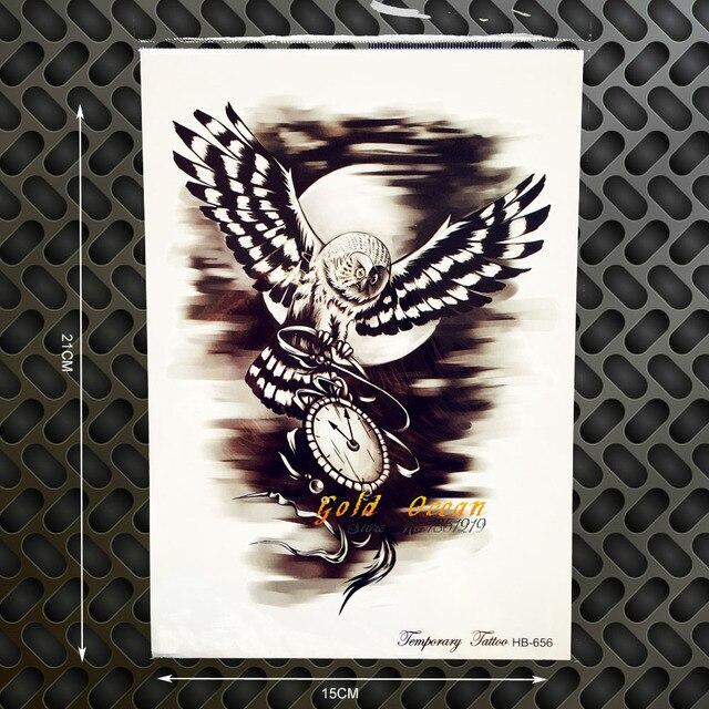 07a5f555c Dark Owl Designs Waterproof Temporary Tattoo Hawk Wings Women GHB-656  Flying Eagle Clock Compass Tattoo Men Body Art Arm Chest