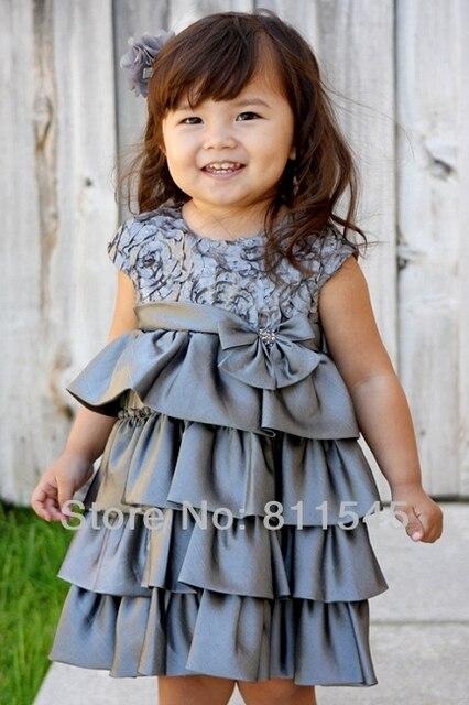 Розничная 2016 Темно-Зеленый Атласная Детские Платья Маленькая Девочка Принцесса Пачки для Свадьба Детская Одежда Bebe Одежда Подарок На День Рождения