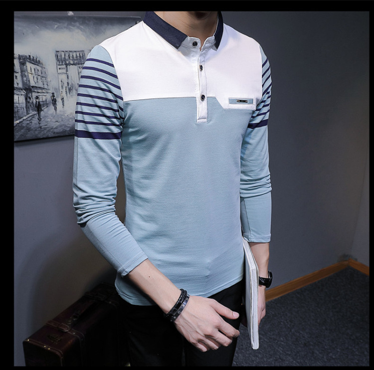 Business Casual Long Sleeve Men Polo Shirt Striped Autumn Winter Polos Cotton Slim Fit Camisa Polo Masculina 77