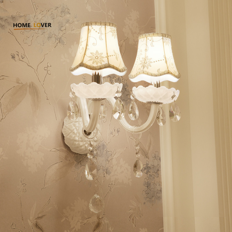 European Design LED Luxury Hanging K9 Crystal Wall Lamps Bedroom Headboard Wall Sconce Light Fixture стоимость