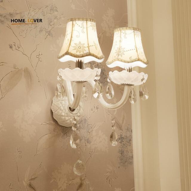 European Design LED Luxury Hanging K9 Crystal Wall Lamps Bedroom Headboard Wall Sconce Light Fixture