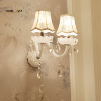 European Design LED Luxury Hanging K9 Crystal Wall Lamps Bedroom Headboard Wall Sconce Light Fixture