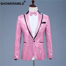 SHOWERSMILE Sequin Jacket Blazer Men Pink Suit Red Silver Gold One Button Fashion Stage Clothes For Male Singers