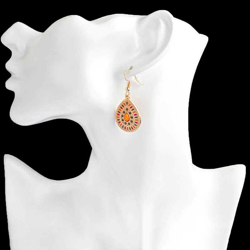 Красочные воды шикарные серьги в форме капель желтый геометрический брелок Висячие серьги для женщин Модные Этнические серьги подарочный набор украшений для ушей