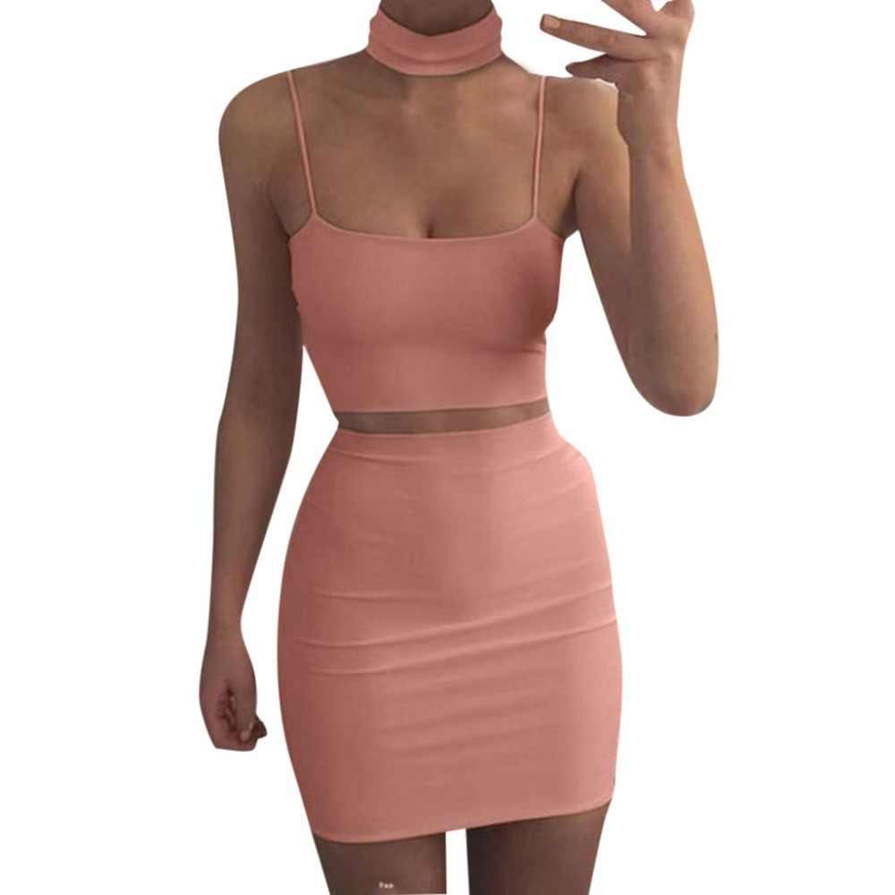 여성 여름 패션 섹시한 축제 의류 두 조각 매칭 세트 자르기 탑과 스커트 허리 Bodycon 복장 2019 X1