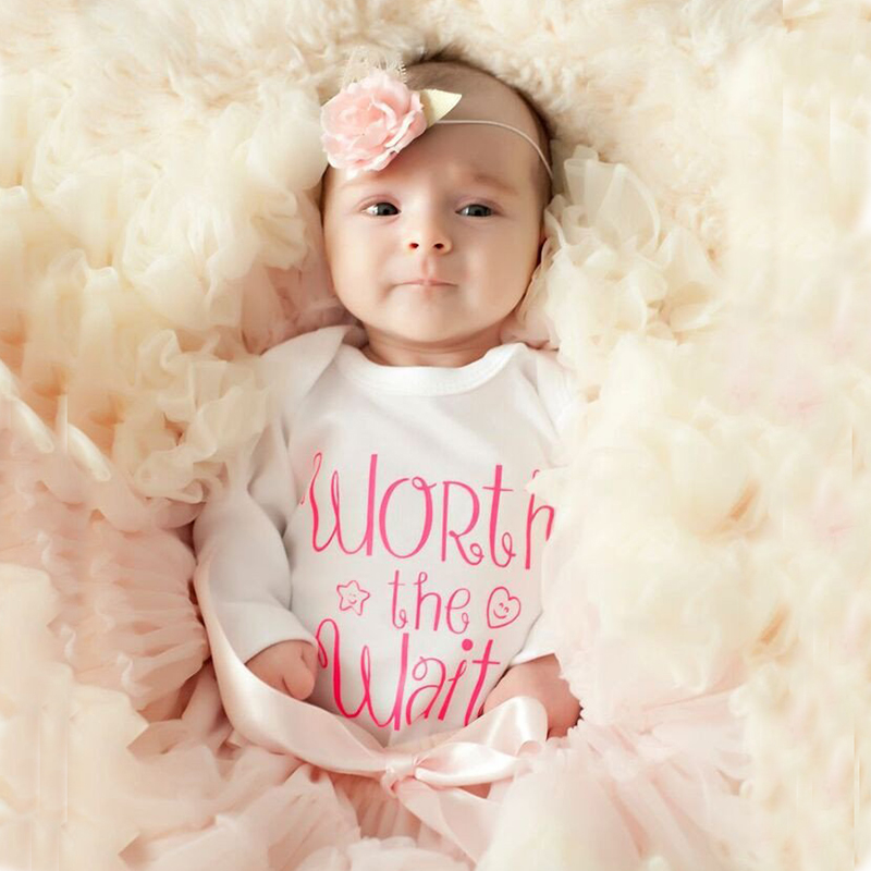 2018 Tiny Cotton Baby Bodysuit Spring Autumn Newborn Baby Infant Clothing WORTH THE WAIT Letter Print Funny Baby Onesie Clothes