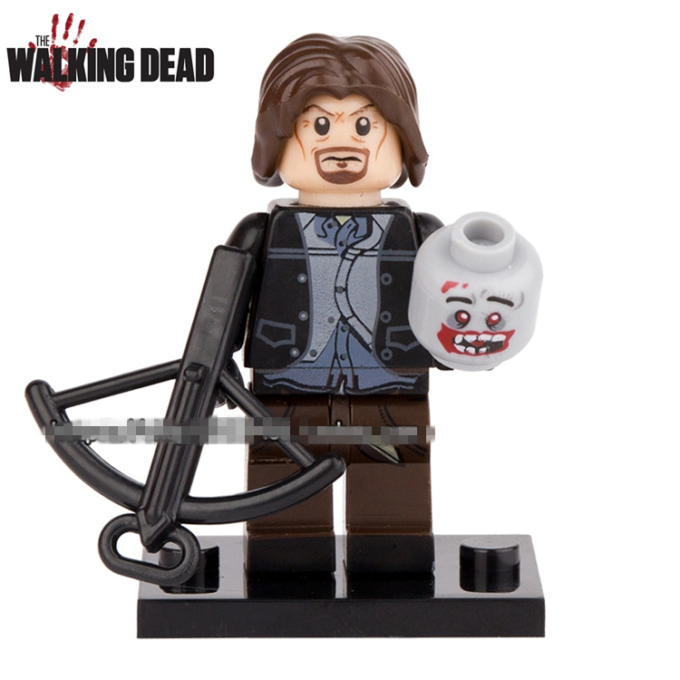 Single Sale AMC TV Show The Walking Dead Daryl Dixon with Bow Carol Rick Carl  Assemble Minifig Action Figures Blocks Kids Toys building blocks the walking dead figures rick negan carl daryl star wars super heroes set assemble bricks kids diy toys hobbies
