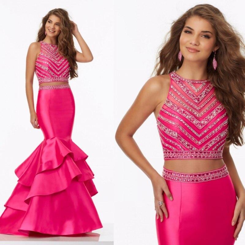 2 de dos piezas de la sirena baile vestidos largos 2017 sexy fucsia ...