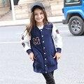 Adolescente Niñas de Béisbol Chaquetas Chicas de Deportes de Otoño 2017 Nuevas Muchachas de Los Cabritos Camiseta Con Cuello En V Top Girls Modelada Capa