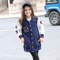 Teenage Girls Baseball Jackets Spring Autumn 2017 New Kids Girls V-neck Sweatshirt Girls Sportswear Top Girls Patterned Coat