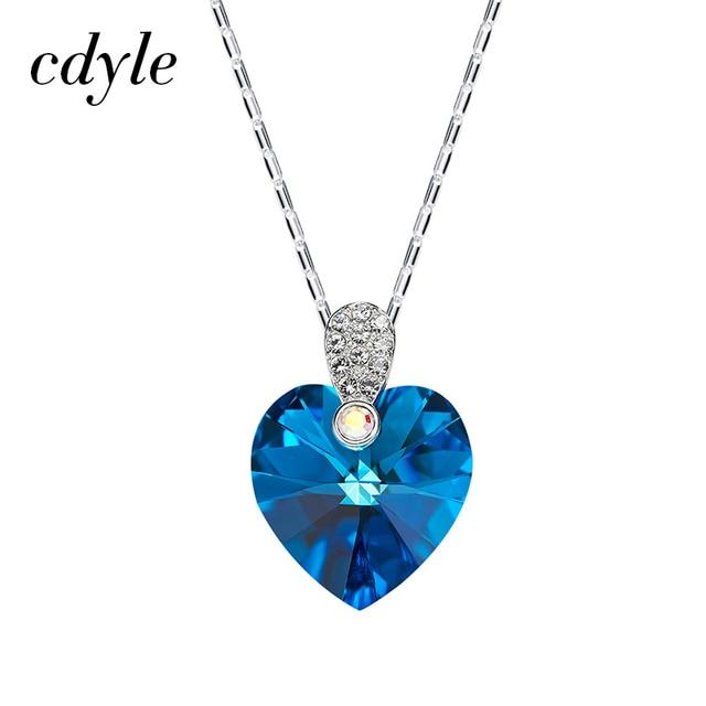 0e5cd18b4a35 Cdyle cristales de Swarovski colgantes mujeres collares en forma de corazón  de moda aniversario romántico accesorios