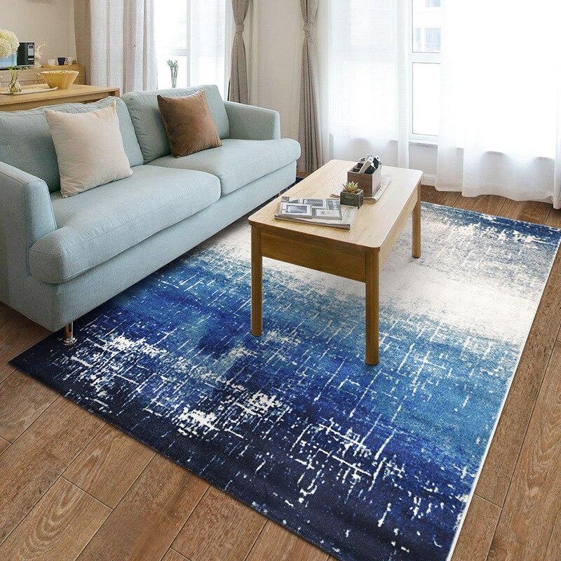 Blue Mediterranean Carpets For Living Room Home Decoration Bedroom Rug