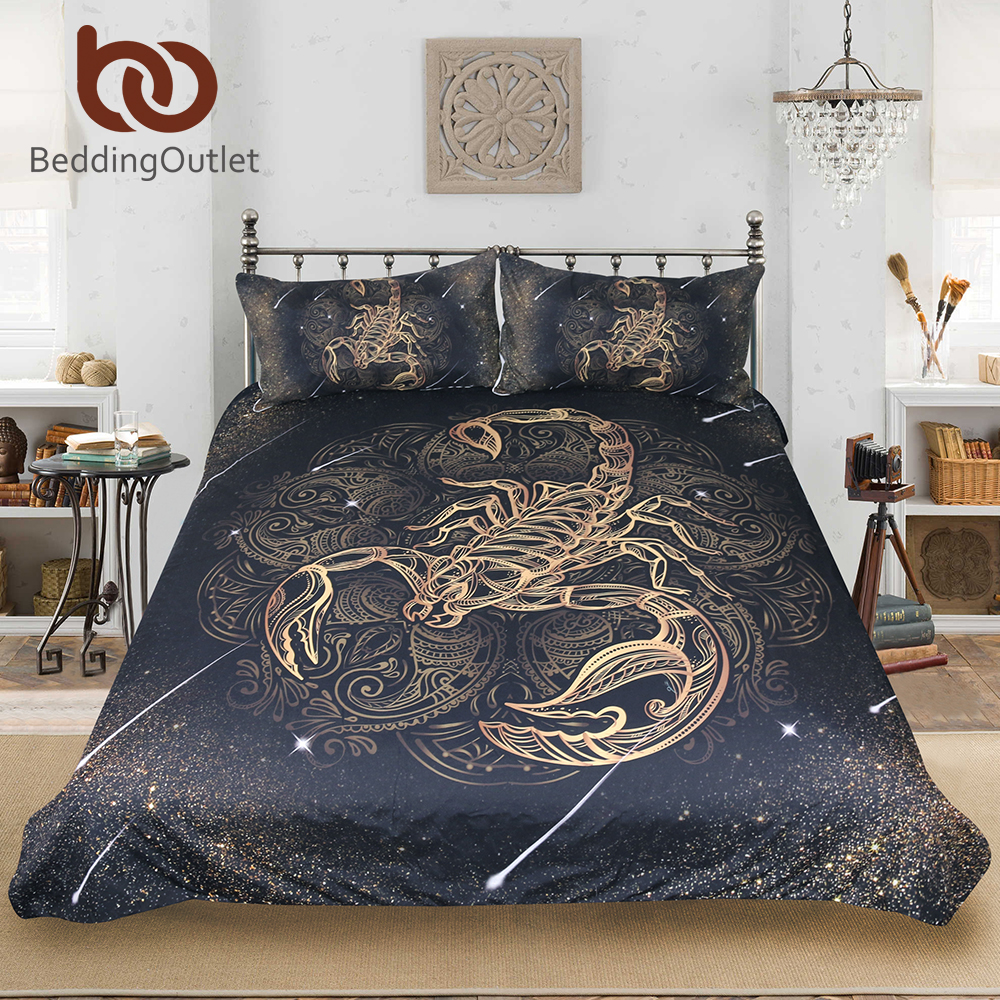 BeddingOutlet Gold Scorpion Bedding Set Queen Meteor Scorpio Duvet Cover Constellation Bed Set Bohemian Print Black Bedclothes