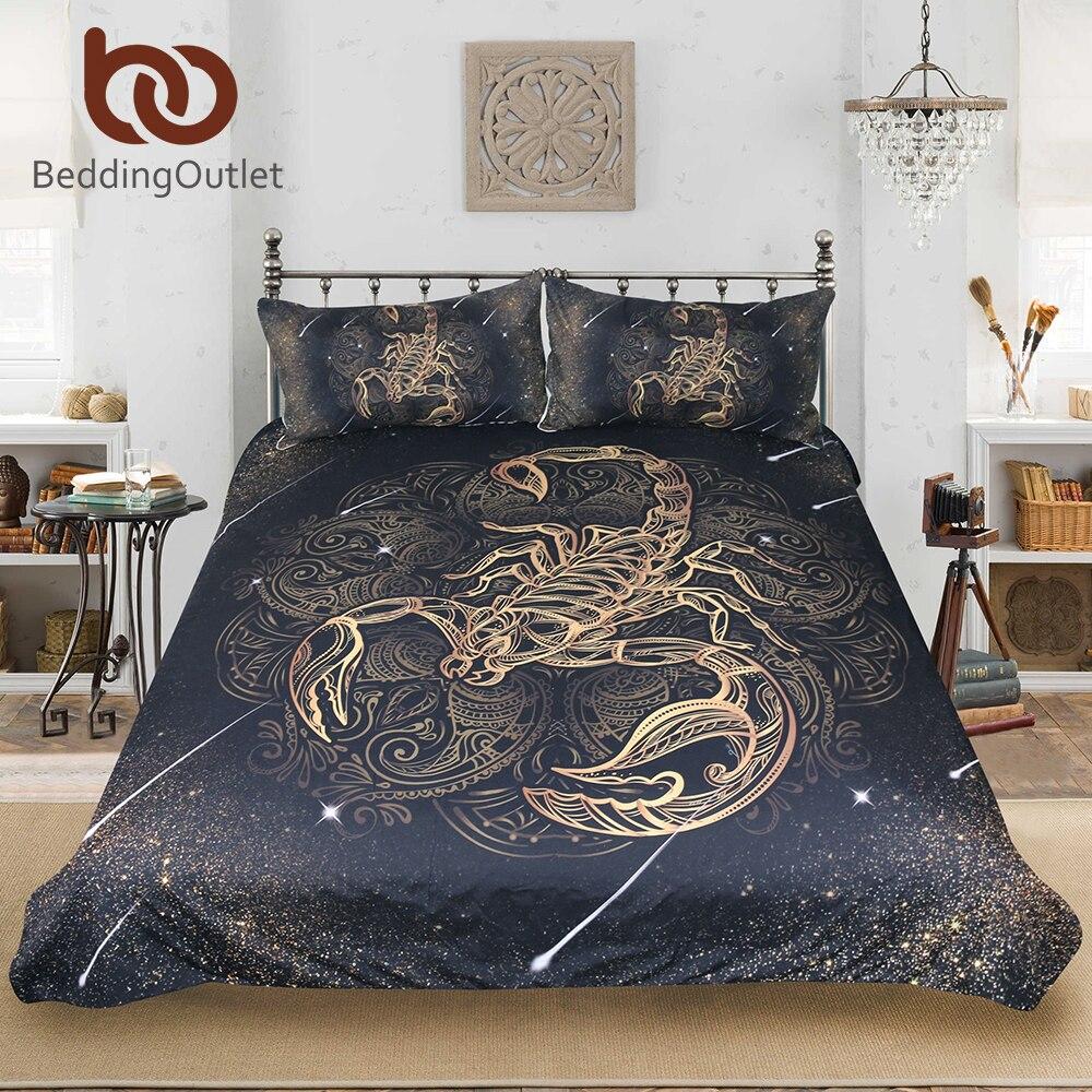 BeddingOutlet Gold-skorpion Bettwäsche Set Königin Meteor Scorpio Bettbezug Konstellation Bett Set Bohemian Print Schwarz Bettwäsche