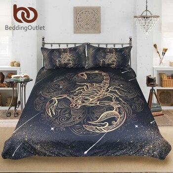Conjunto de ropa de cama de escorpión de oro, funda de edredón de La Reina, juego de cama de constelación, ropa de cama negra con estampado bohemio