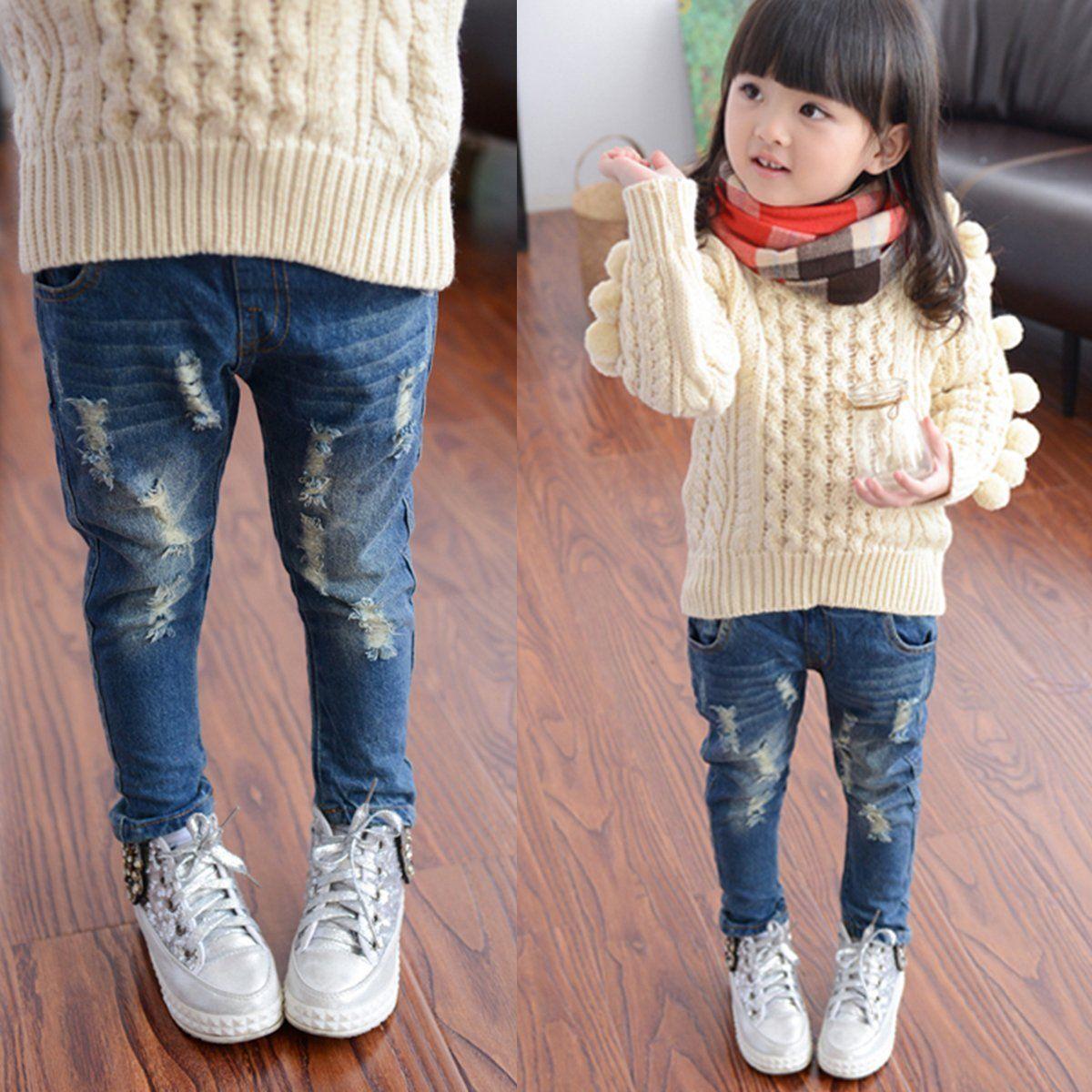 Peuter Kids Baby Meisjes Jongens Ripped Denim Skinny Jeans Bedelaars Gat Jeans Kind Broek Hiphop Unisex Broek 2-7 T