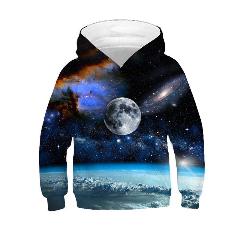 2019 Children Hooded Hoodies Colorful Galaxy Space Universe Star Creative Design Boy/Girl 3D Print Sweatshirts Kids Clothes Tops