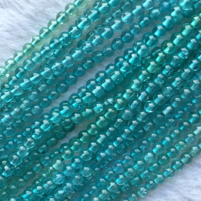 AAA High Quality Natural Genuine Clear Green Blue Apatite Fluorapatite Round Loose Gemstone Beads 15