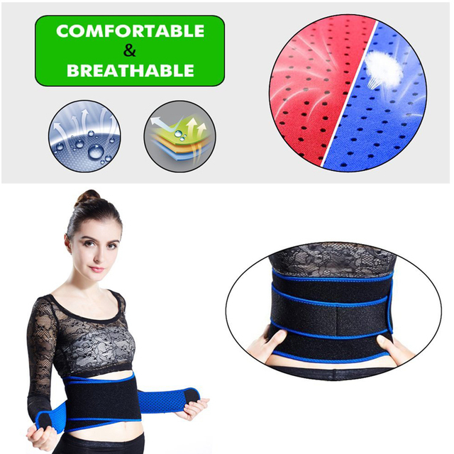 1Pcs Adjustable Waist Trimmer Belt / Weight Loss Ab Wrap / Sweat Workout Enhancer / Back & Lumbar Support / Tummy Belt 3