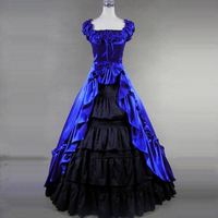 Customized 2018 Summer Gothic Victorian Long Dress Retro Square Collar Southern Belle historical Ball Gowns For Women 3 Colors