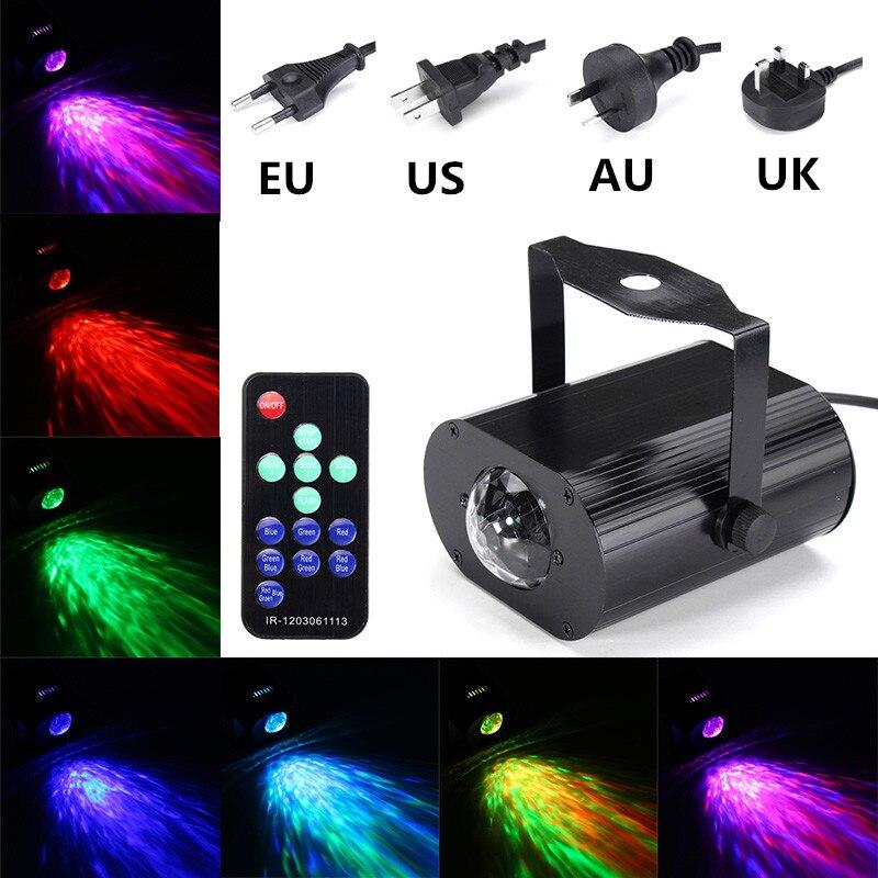 Versprechende 6 watt LED Bühne Licht Wasser Welle Wirkung RGB Disco DJ Party Projektor Lampe Fernbedienung AC85-265V