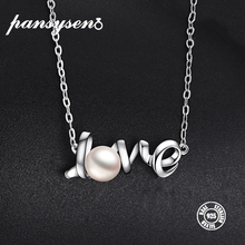 PANSYSEN 100% Sterling 925 Silver Love Letter Design 7mm Round Natural Pearl Necklaces Pendants for Women Jewelry Necklace Gifts