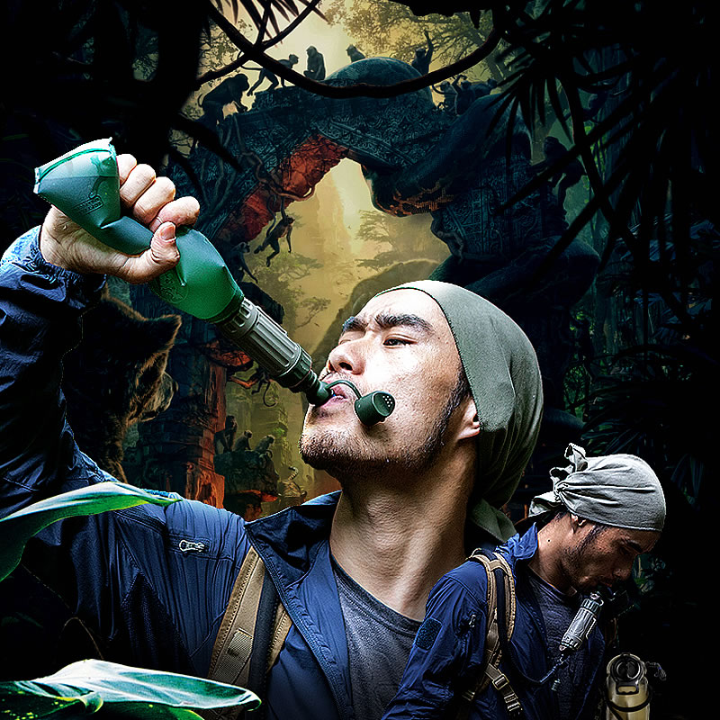 Portable mini filter direct water purifier drinking straight tourism outdoor outdoor camping hiking survival water filtration purifier drinking pip straw army green