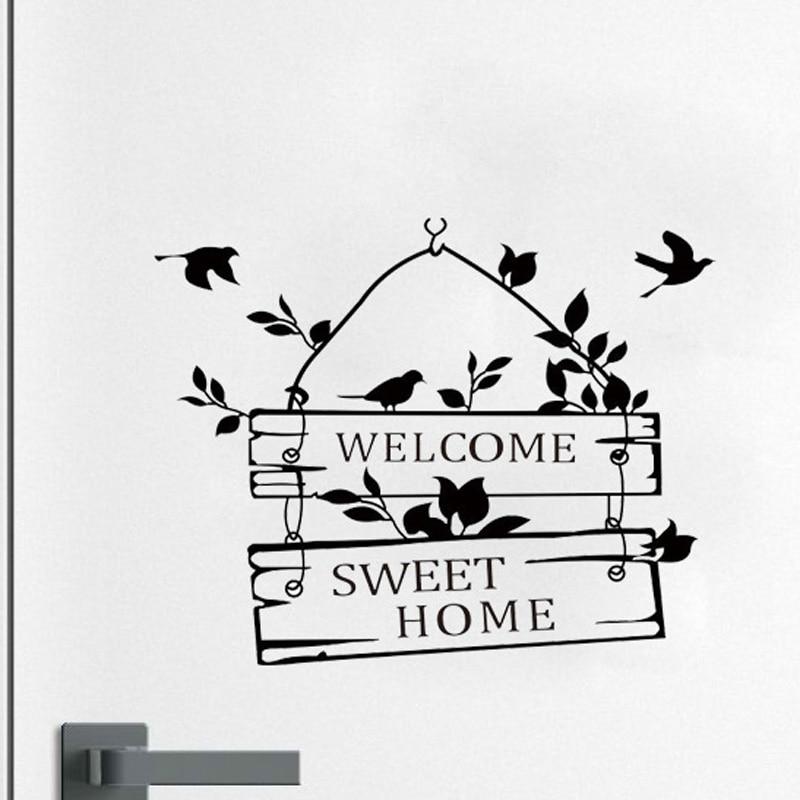 Welcome Sweet Home Little Tree Sign Bedroom Doors Vinyl Sticker 2WS0107