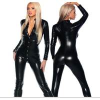 Top Elastic Front To Crotch Covered Button Faux Leather Latex Catsuit Sexy Black PVC Vinyl Bodysuit Pole Dance Costume Clubwear