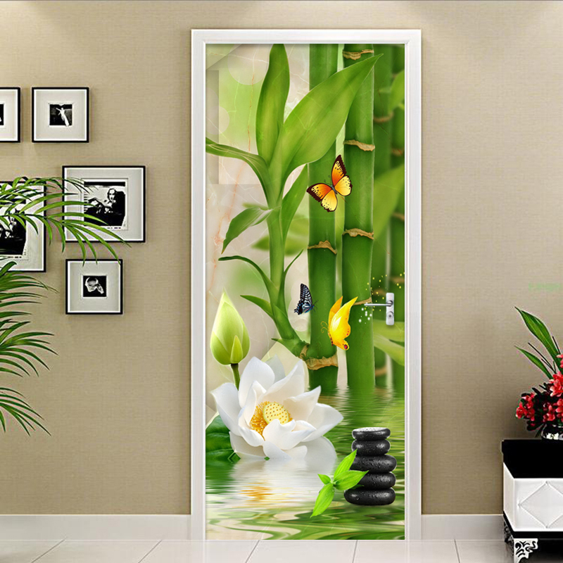 3D Sticker Chinese Style Green Bamboo Photo Wallpaper Living Room Study Kitchen Door Sticker PVC Self-Adhesive Waterproof Decor