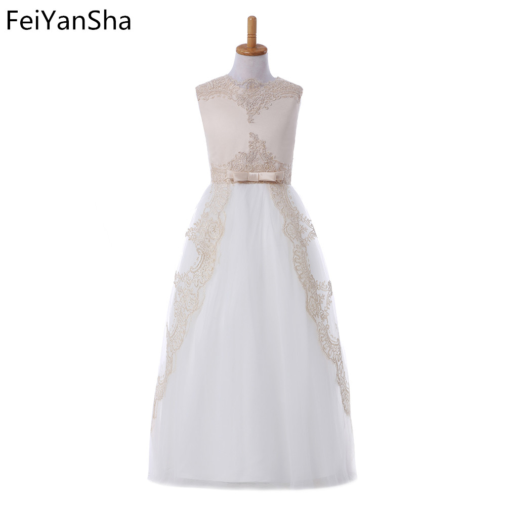 FeiYanSha New Summer white ivory Tulle Girls Dress With Exquisite Embroidery Lace Top Grace Classic Kids Dress Children Wear