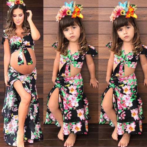 2018 New Family Match Mom Daughter Floral Clothe Pregnant Kid Girls Crop Tops Skirt Summer Family Maternity Outfits formal wear