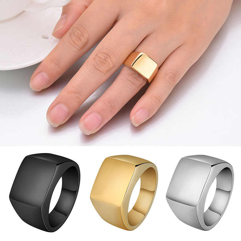 Brand Rings For Man Punk Style 316L Stainless Steel Men's Signet Ring Bold Solid Polished Fashion Jewelry