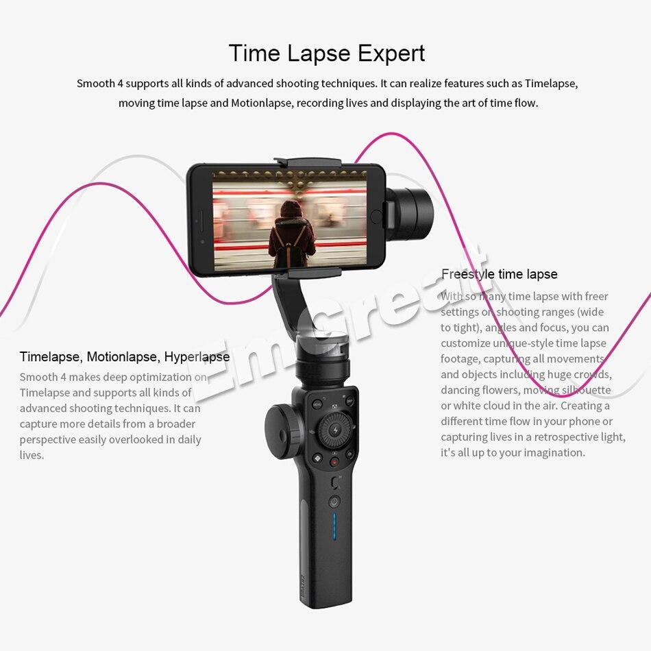 Zhiyun Lisse 4 Q 3-Axes De Poche Smartphone stabilisateur de cardan pour iPhone XS XR X 8 Plus 8 7 P 7 Samsung S9 S8 S7 & caméra d'action - 5
