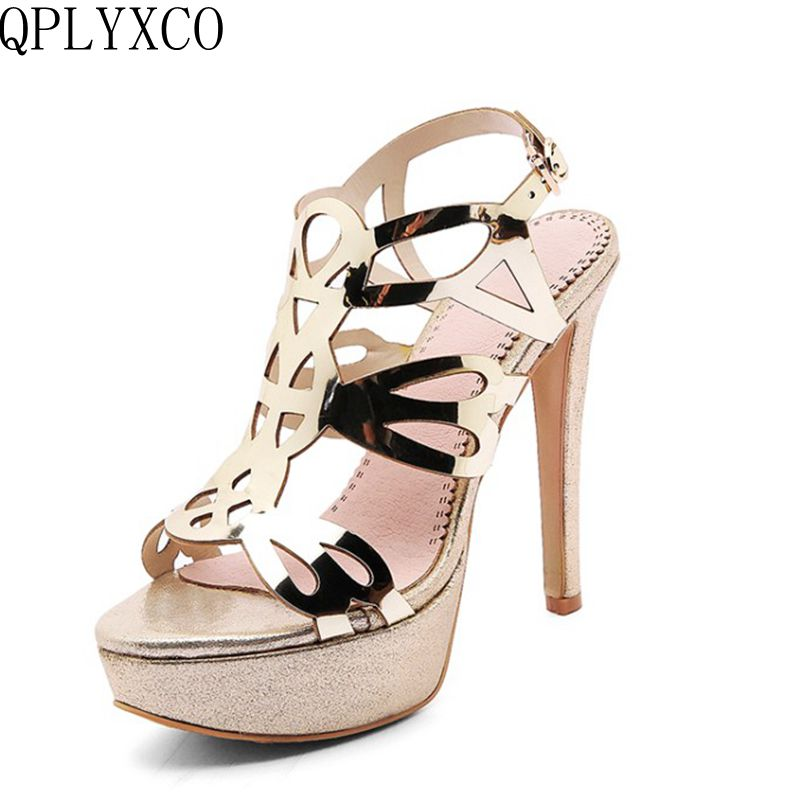 QPLYXCO Summer Patent leather Sandals shoes woman Sexy Big Size 33-43 Super High Heels (13CM) wedding Party women shoes K34812 new 2017 sexy point toe patent leahter high heels pumps shoes sandals pr1987 woman s red sandals heels shoes wedding shoes