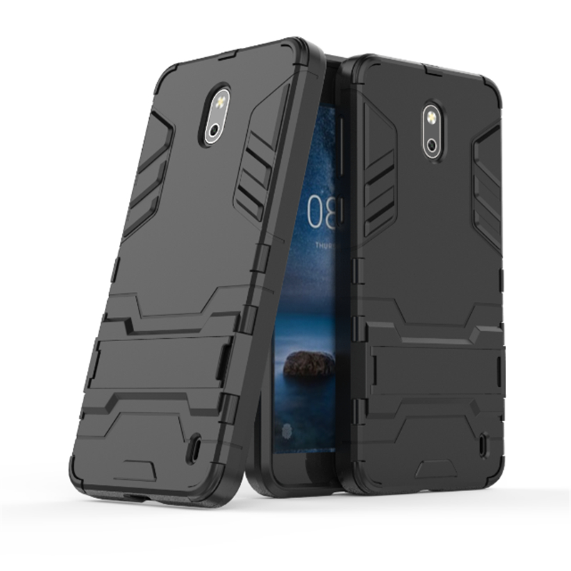Galleria fotografica Armor Case For <font><b>Nokia</b></font> 2 5.0'' Phone Case <font><b>Cover</b></font> For <font><b>Nokia</b></font> 2 Soft Silicone + Plastic Cases Protective With Kickstand <font><b>Cover</b></font> shell