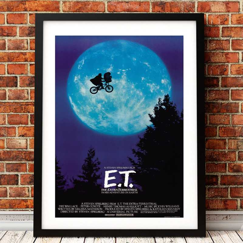 E.T. The Extra-Terrestrial UFO movie poster art print , film Poster ET canvas painting wall picture art decor