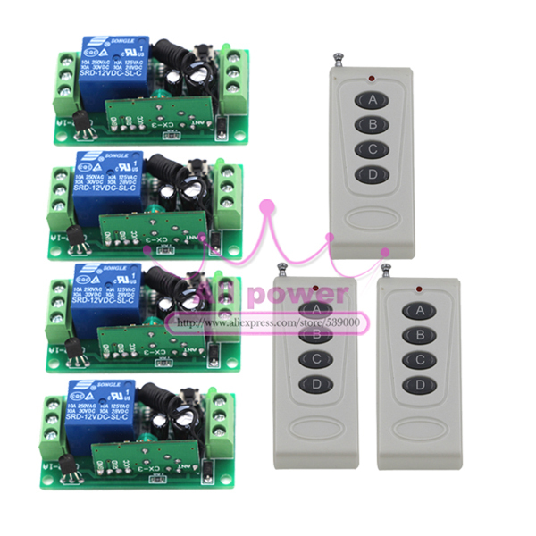 Dc 12v 10a 1ch wireless remote control switch 4 channel for Eclairage exterieur 12v