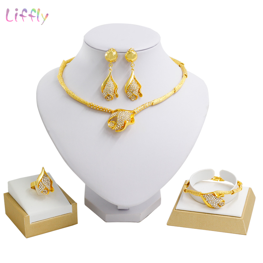 Fashion Jewelry Sets New Design Gold Necklace Charm Women Bracelet Crystal Earring New Year Prom Party Fine Turkish Jewelry Set