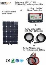 Solarparts 1x75W DIY RV/Boat Kits Solar System 1 x75W flexible solar panel 1x 10A solar controller 1 set 3M MC4 cable 1 set clip