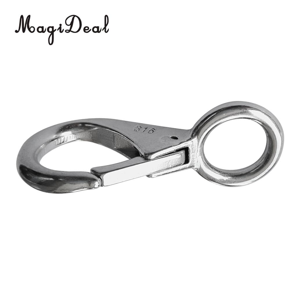 304 Stainless Steel Spring Loaded Fixed Eye Snap Hook for Boat Silver Size 3