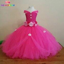 Elegante sonho bonito rosa quente princesa tutu vestido crianças meninas vestido de baile com strass perfeito para casamentos vestidos da menina de flor