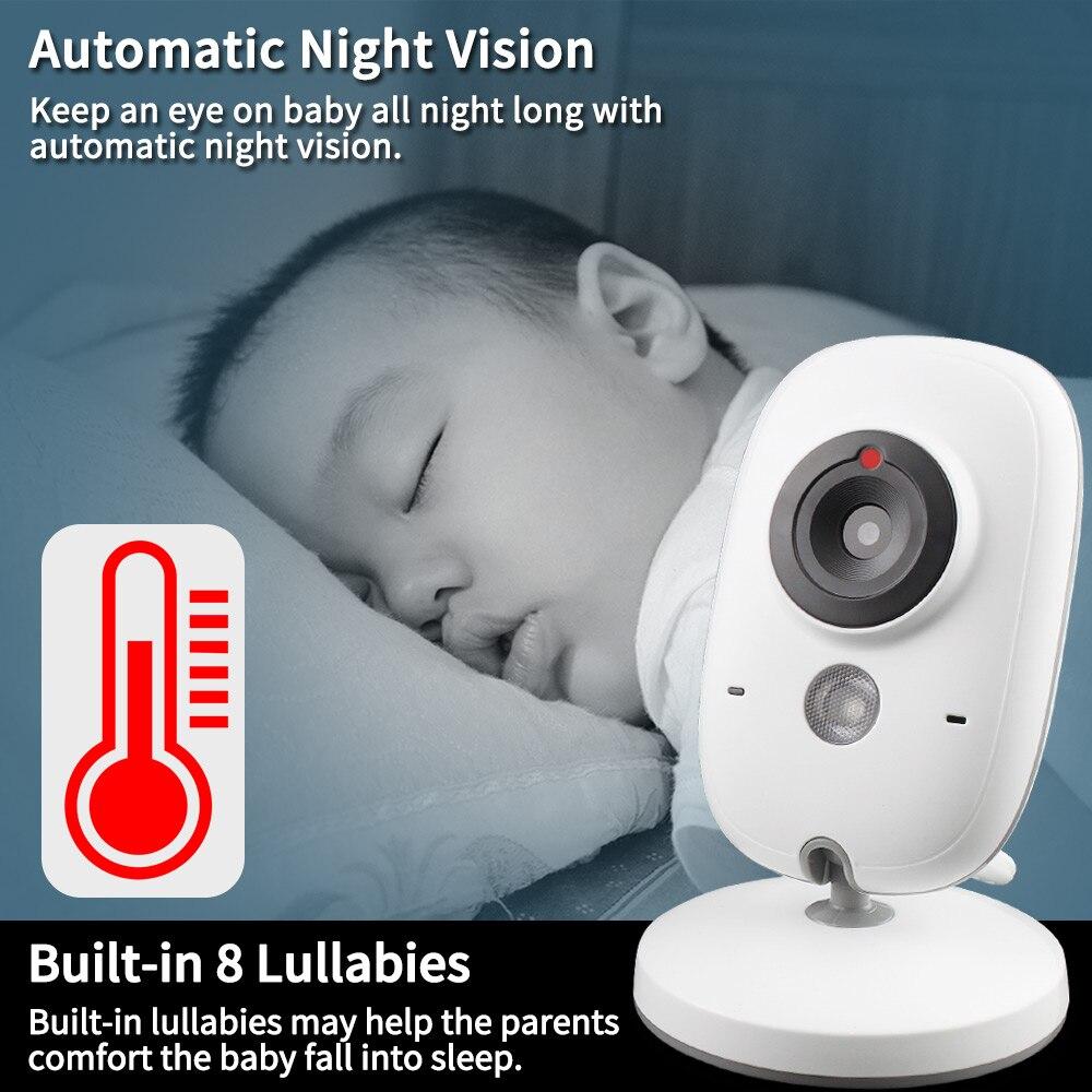 Moniteur bébé couleur vidéo sans fil 3.2 pouces haute résolution caméra de sécurité bébé nounou surveillance de la température de Vision nocturne - 2