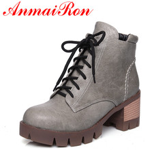 ANMAIRON New Fashion Autumn/Winter Ankle Boots for Women Square Heels Round Toe Lace-Up Charm Shoes Large Size 34-43
