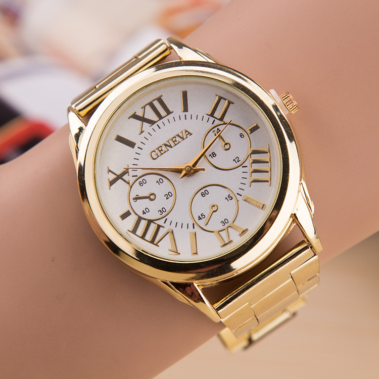 2015 new brand 3 eyes gold geneva casual quartz watch women stainless steel dress watches for Watches geneva