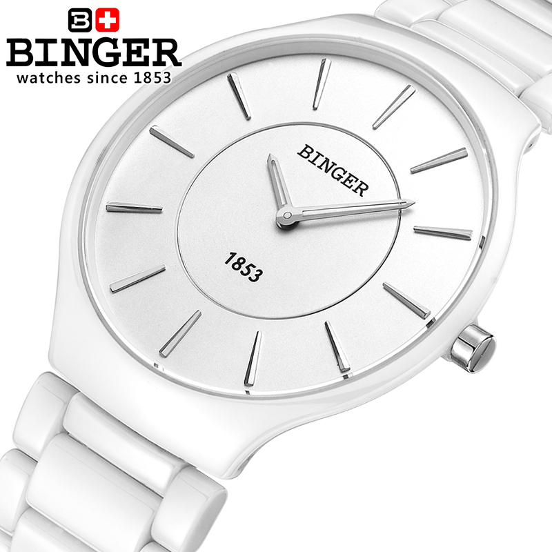 Switzerland luxury brand Male Wristwatches Binger Space ceramic quartz men s watch lovers style Water Resistant